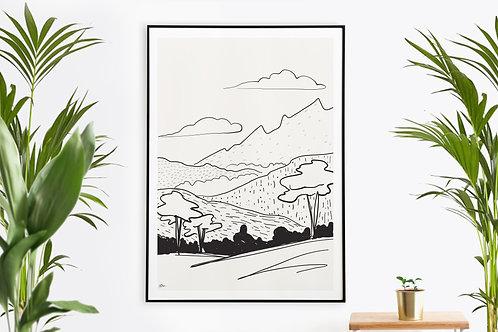 Peaceful Fields Landscape Illustration Printable Wall Art