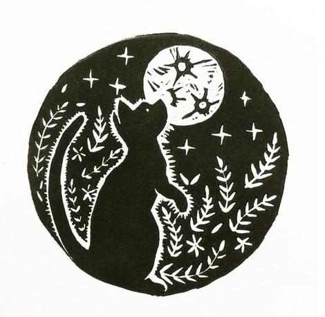 Moon Cat: Lino cut print