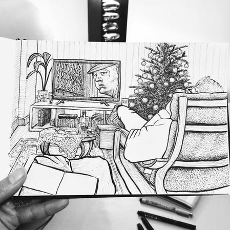 Black and white ink observational illust
