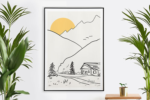 Sunset Cabin Landscape Illustration Printable Wall Art