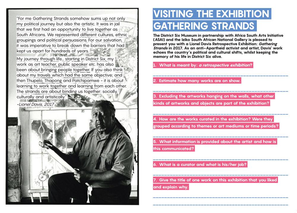 Lionel Davis, Gathering Strands Exhibition Worksheet