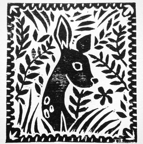 Oh Deer. Lino Cut Print