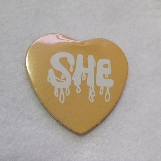 Heart-Shaped SHE Pronoun Badge