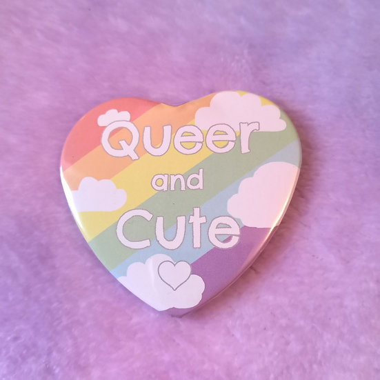 Queer and Cute - Heart Badge