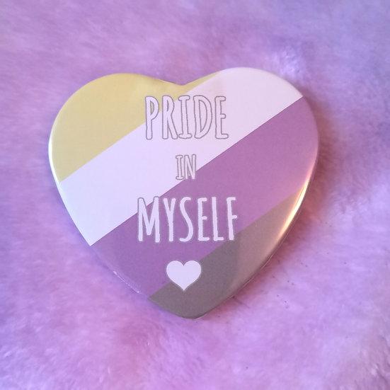 Nonbinary - Pride In Myself - Heart Badge