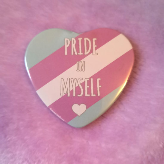 Trans - Pride In Myself - Heart Badge