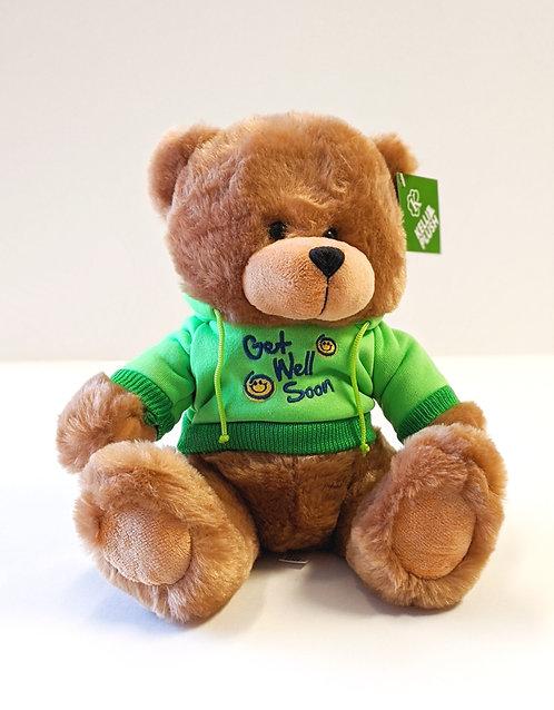 Brown Get Well Bear (Green Hoodie)