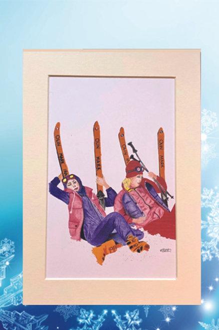 Original printed artwork - Ski life