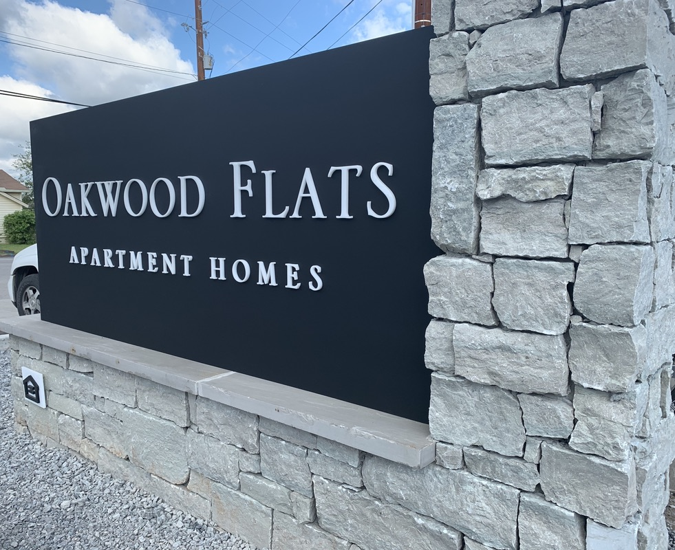 Oakwood Flats Cabinet Signs