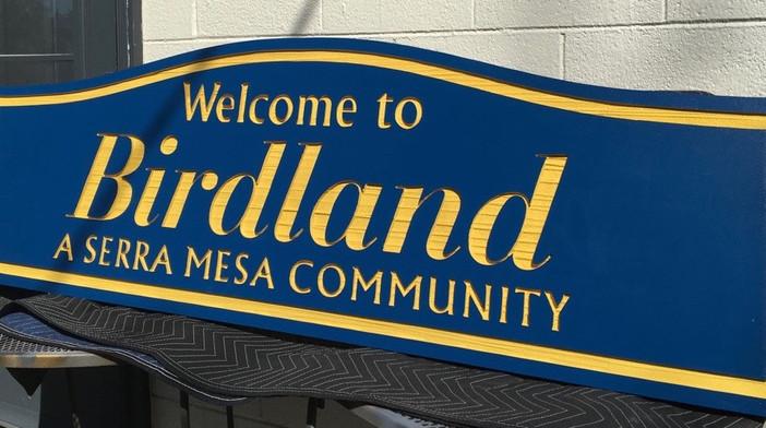 Birdland Community Neighborhood Sign, CA