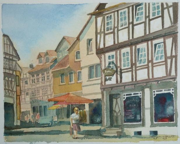 Morning Shopper - 10 x 8 - watercolor