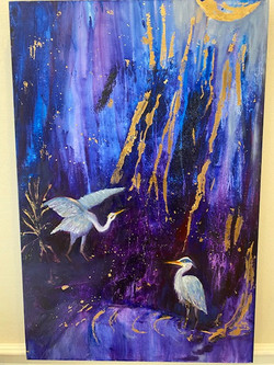 Mindy Austin ~ Half Moon Herons ~ Oil &