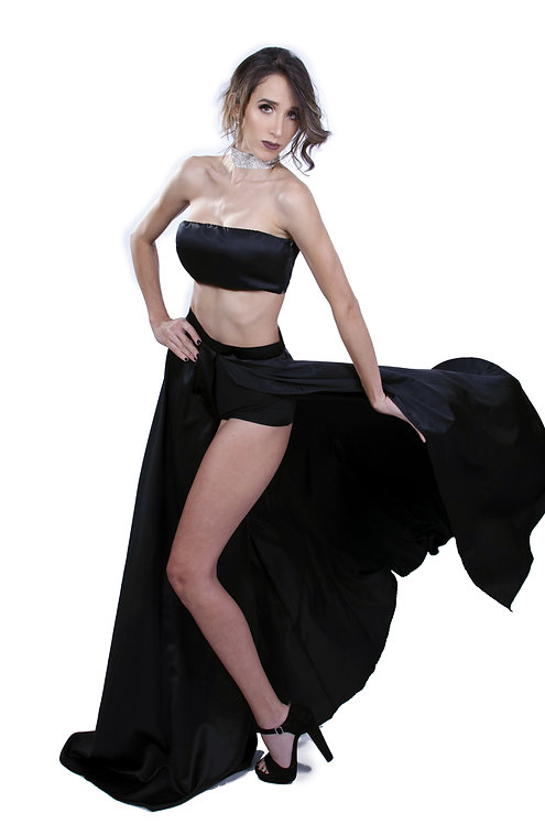 Silk top and skirt