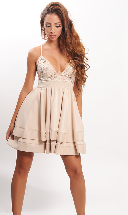 Beige dress with embroidery