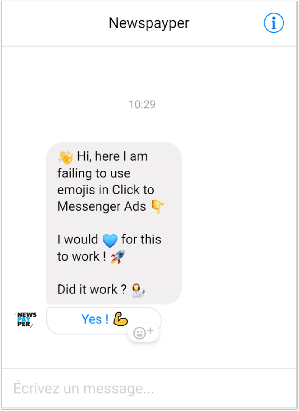 Expectations regarding emojis in Business Manager