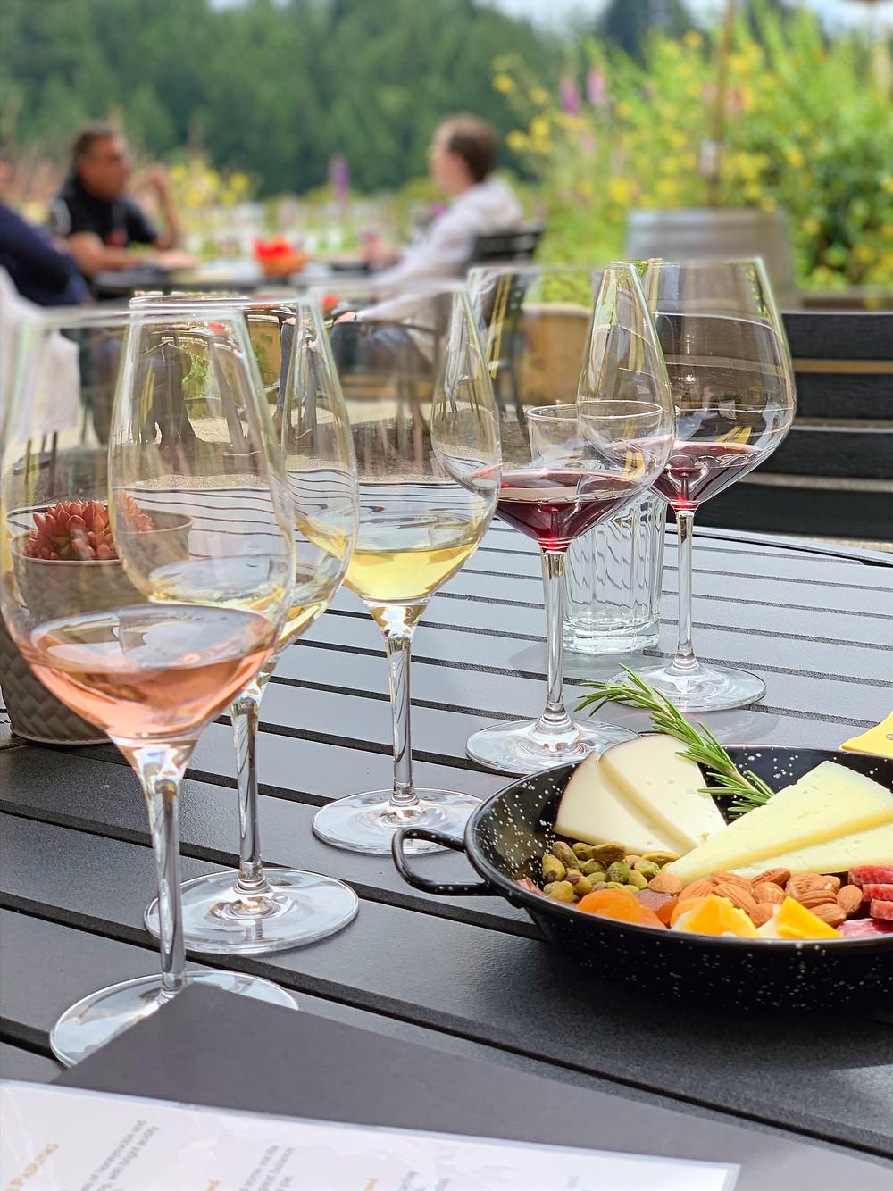 Tapas and wine flight at Marimar Estate Winery in Sebastopol, California