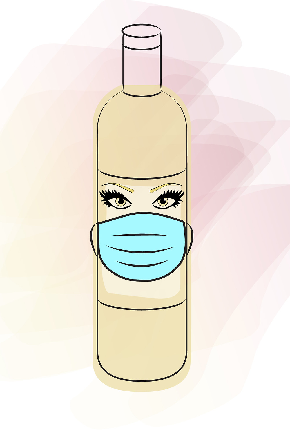 Wine bottle wearing a face mask image by Blonde Tasting