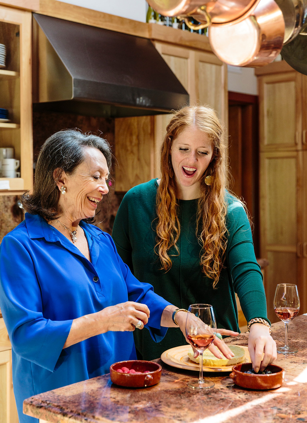 Marimar and Cristina Torres cooking together in their family kitchen in Sebastopol, California