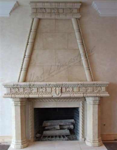 Cream-limestone-fully-customed-fireplace
