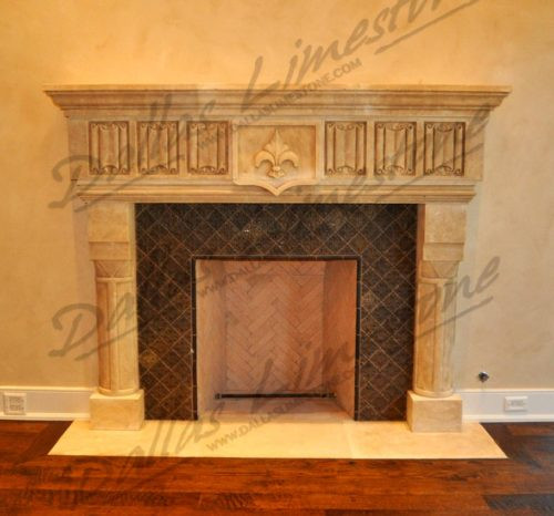 Cream-Limestone-rustic-finish-fireplace-