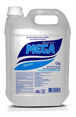 ALCOOL GEL MEGA 4,5KG NEUTRO