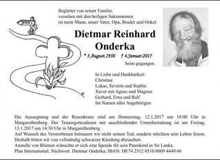 Zum Tod von Dietmar Onderka (Präfekt 1982-1987)
