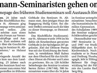 Altmann-Seminaristen gehen online - Bericht im Burghauser Anzeiger / Passauer Neue Presse