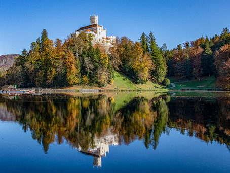 Old Castle Trakoscan and lake  Autumn colours - Croatia