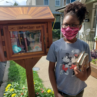 Visiting our favorite Little Free Library