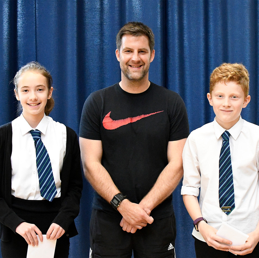 House Points Mr Rae presents to Iona and