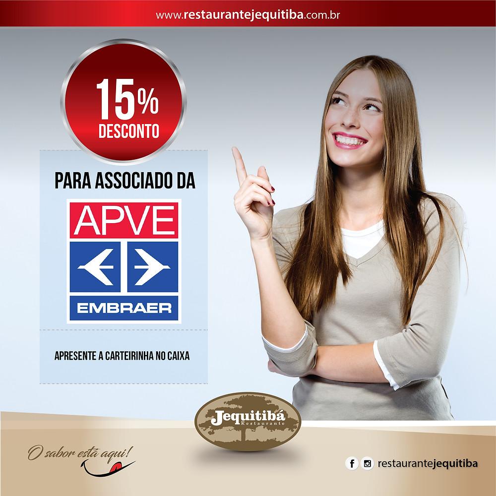 Desconto especial para associado da APVE no Restaurante Jequitibá.