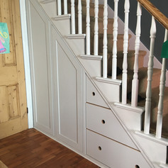 Under stairs cupboards and birch ply deep drawers