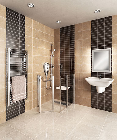 Wet room with half height doors