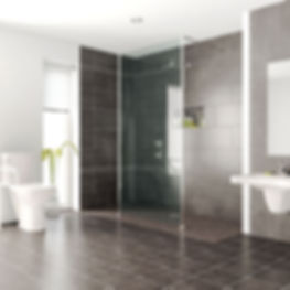 Wet room with fixed shower screen
