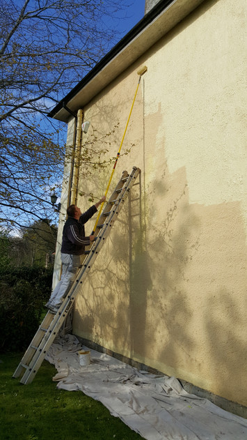 Exterior roughcast wall painting