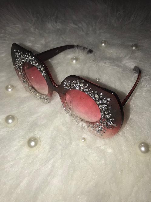 Burgundy Diamond Sunglasses