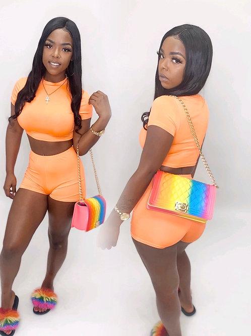 Orange 2 piece short set