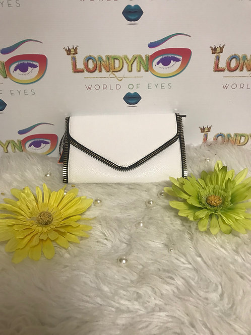 Envelope Purse White with Gold Chain