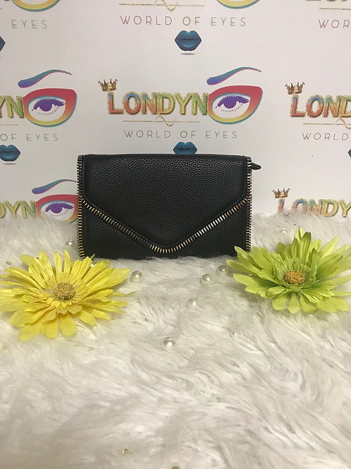 Envelope Purse Black with Gold Chain