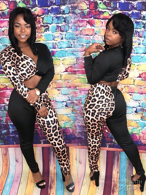 Patch work Leopard Print 2 piece set