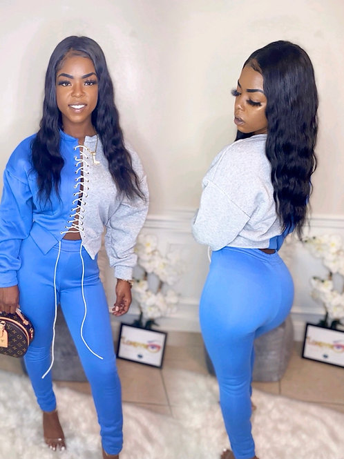 String me up 2 piece set blue and grey