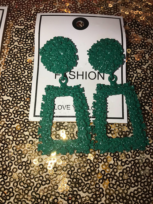 Green fashion earrings