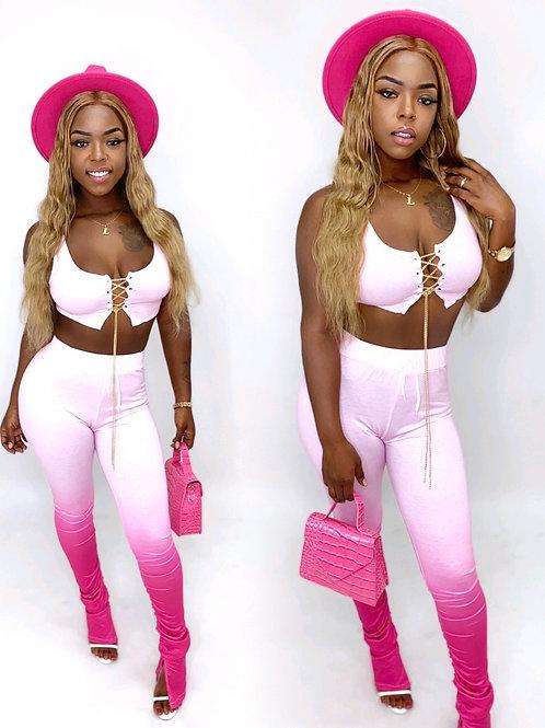 Pink flirt stacked pants set