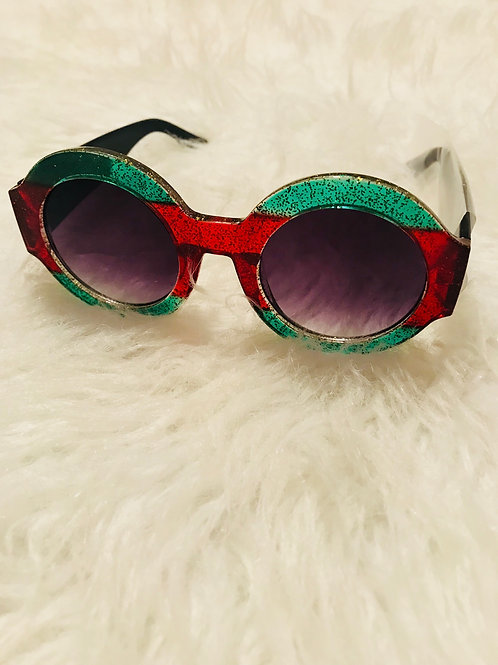 Round Green and Red Sunglasses