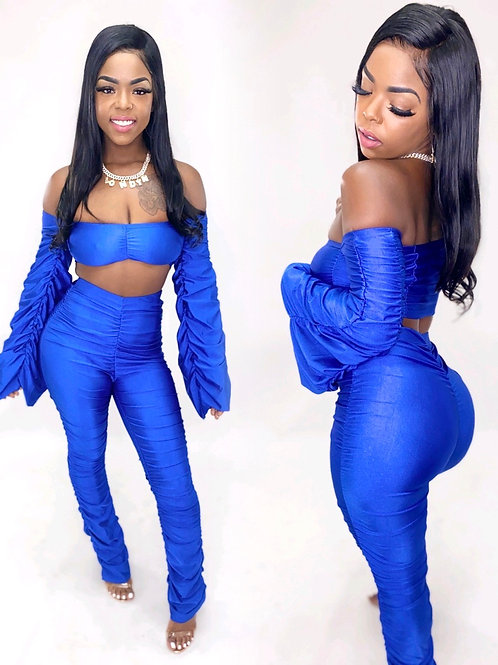 Royal blue Take me out 2 piece stacked set