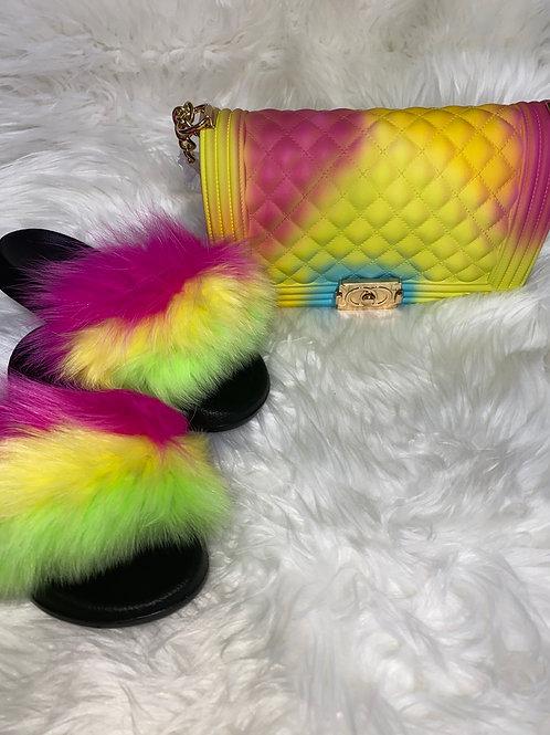 Lime green,pink,yellow fur slipper set