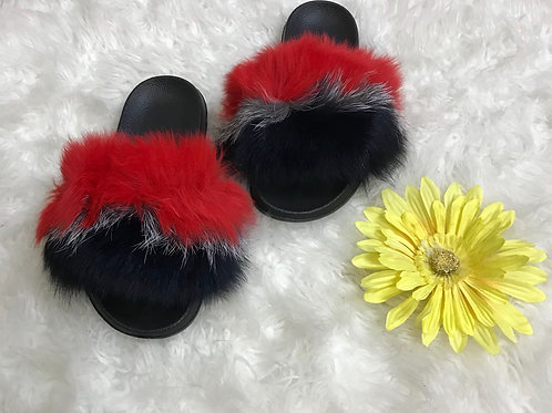 Fur slippers(Red,White,Blue