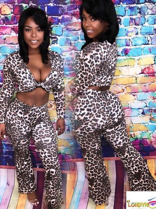 Hot girl leopard 2 piece set