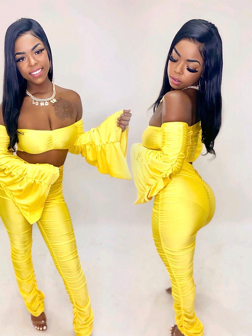 Yellow Take me out 2 piece stacked set