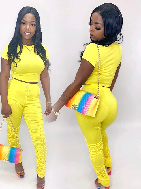 Hello yellow Stacked pants sets